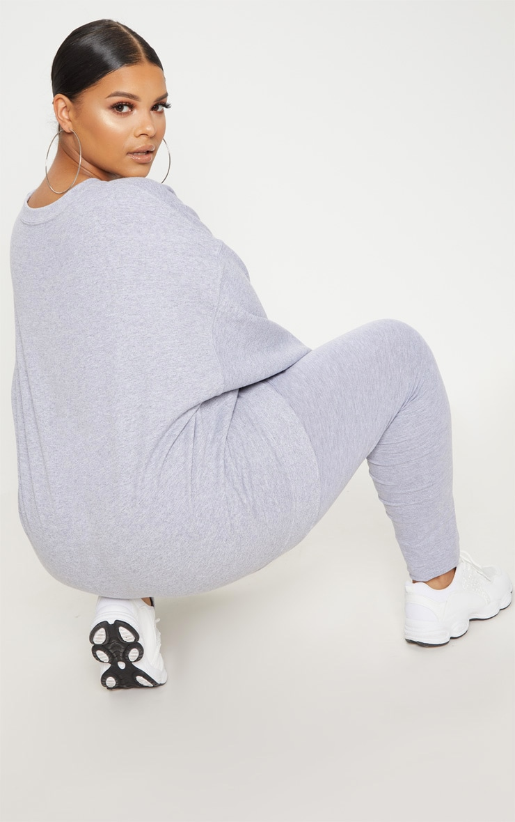 PRETTYLITTLETHING Plus Grey Marl Oversized Sweater 3