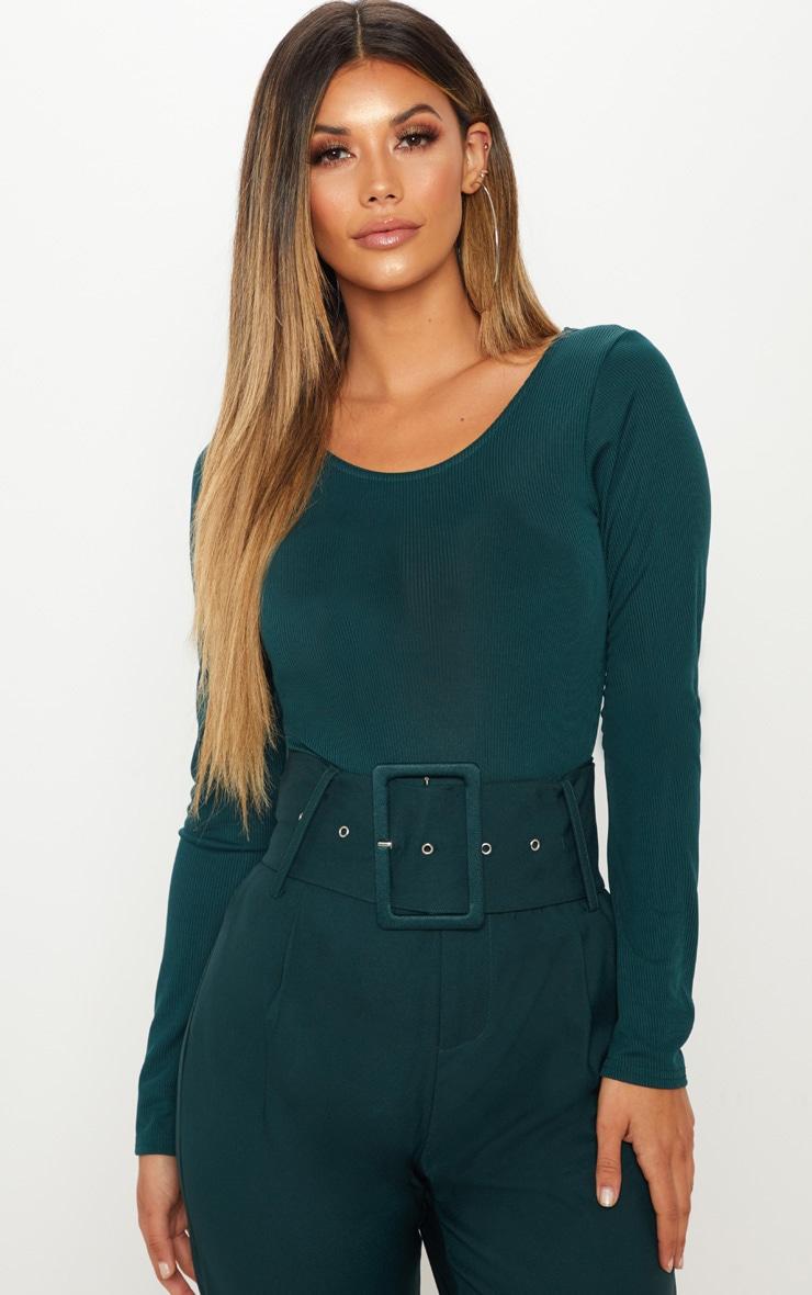 Emerald Green Rib Scoop Back Bodysuit 1