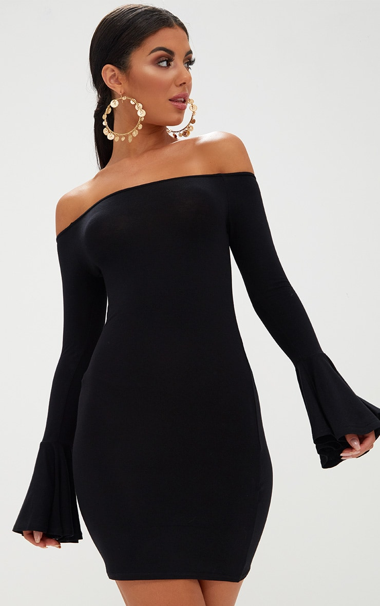 Black Frill Sleeve Bardot Bodycon Dress 1