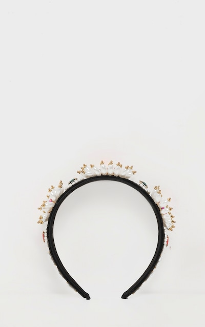 Multi Gemstone Pearl Flower Embellished Headband