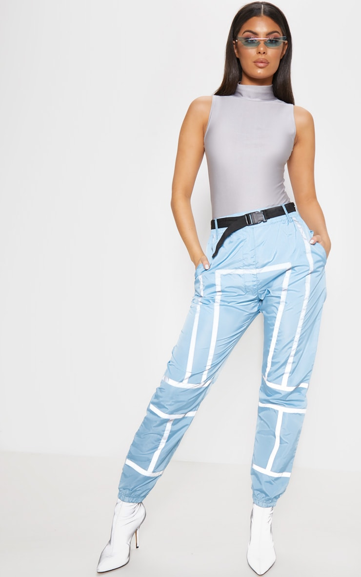 Dusty Blue Shell Reflective Tape Belt Detail Jogger 1