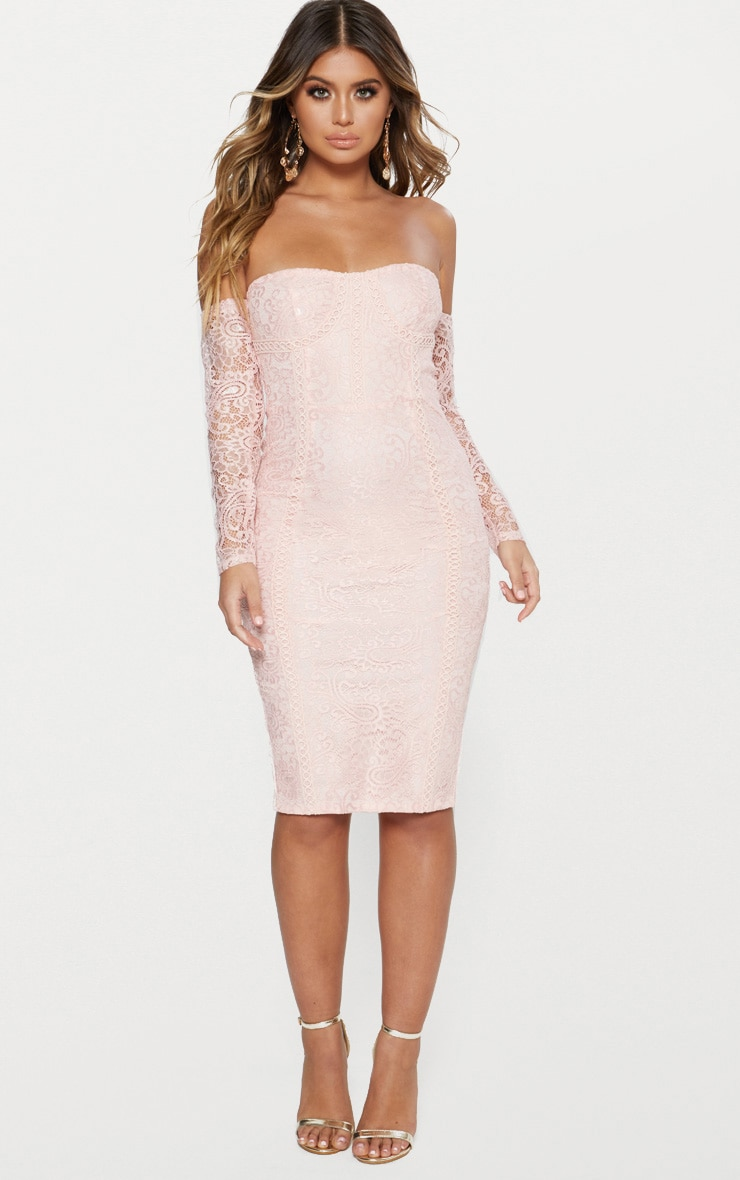 Dusty Pink Bardot Long Sleeve Lace Midi Dress