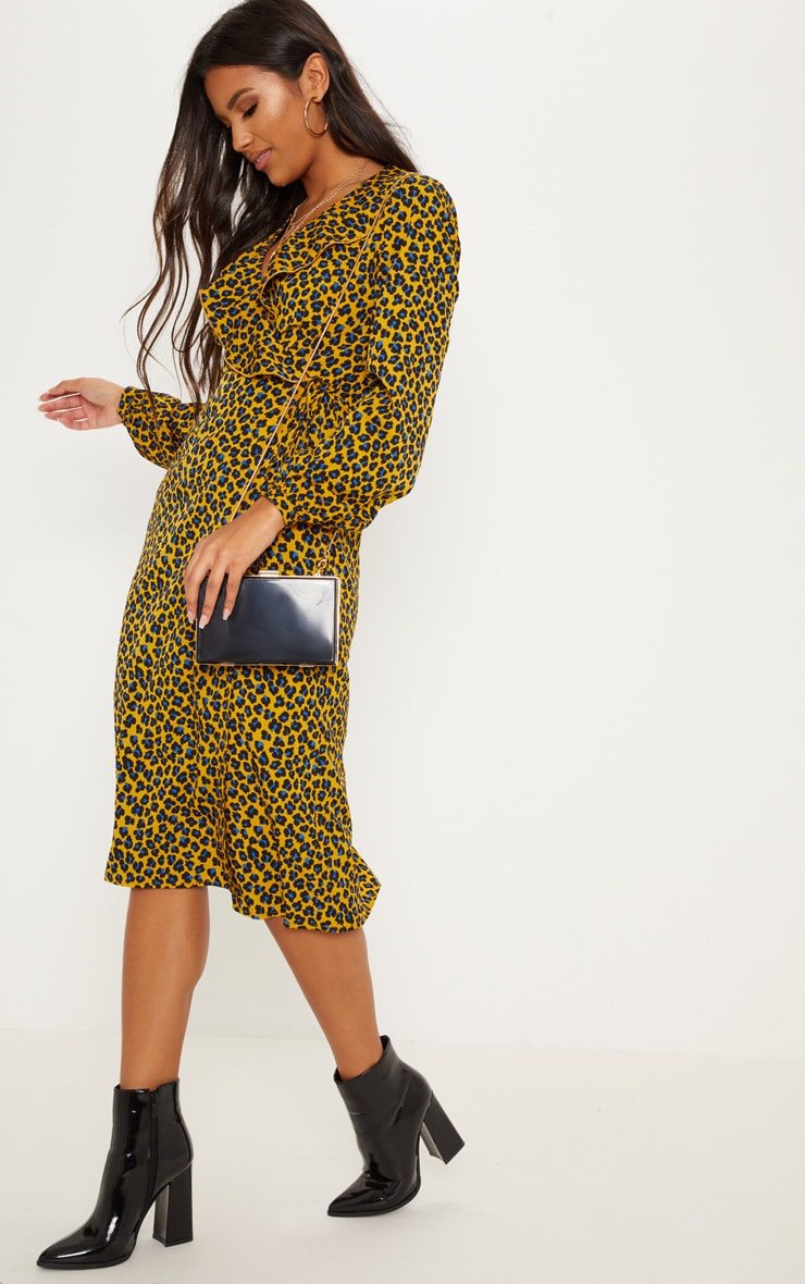 Mustard Leopard Wrap Midi Dress 1