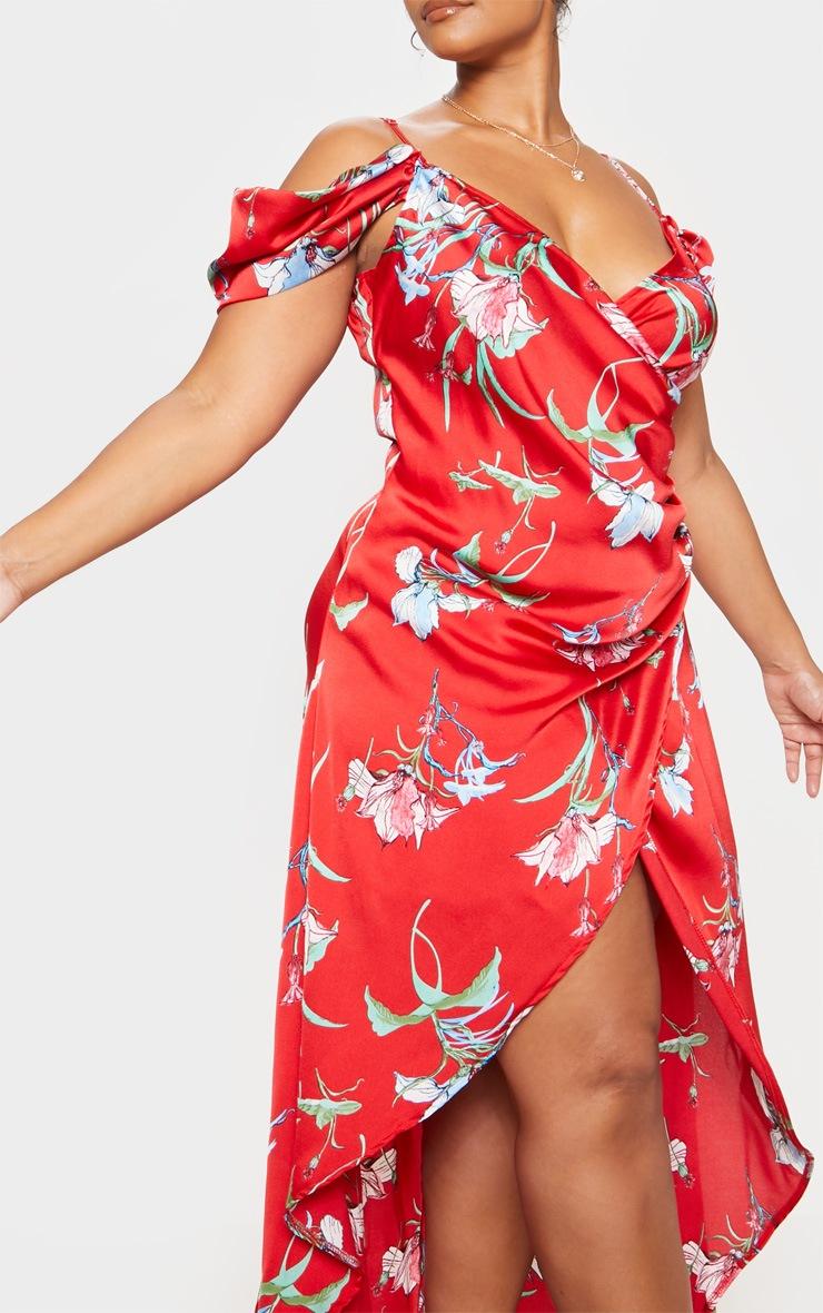 Red Floral Print Drape Detail Maxi Dress 6