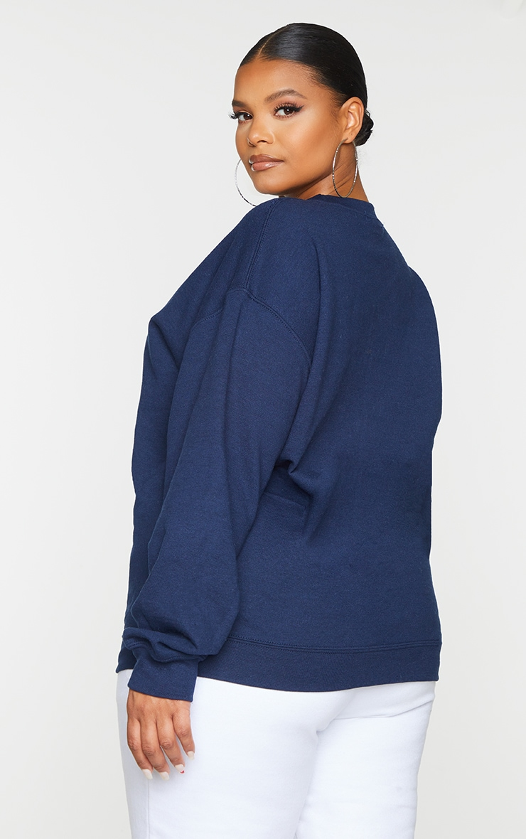 Plus Navy Columbia Embroidered Oversized Sweater 2