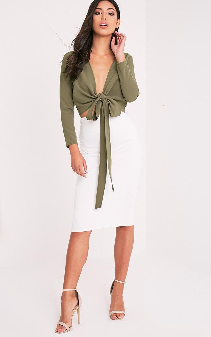 Blanche Khaki Tie Front Long Sleeve Crop Blouse 5