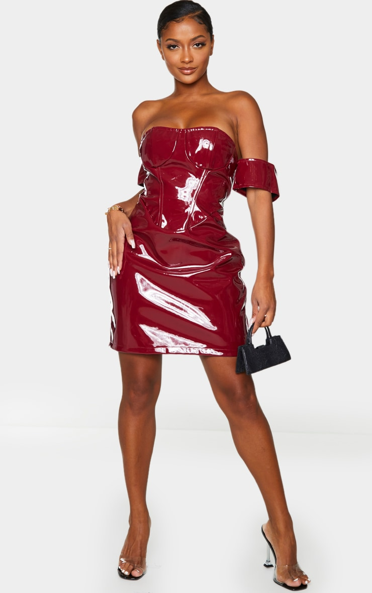 Shape Burgundy Vinyl Off The Shoulder Corset Detail Bodycon Dress 3