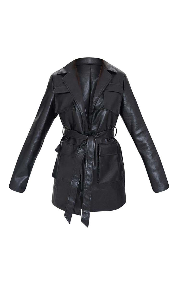 Black PU Longline Pocket Front Jacket 5