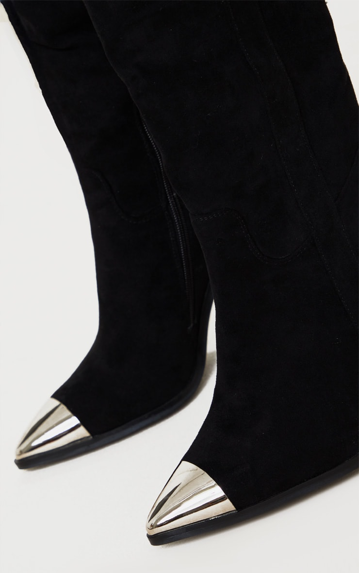 Black Metal Toe Thigh Boot 5