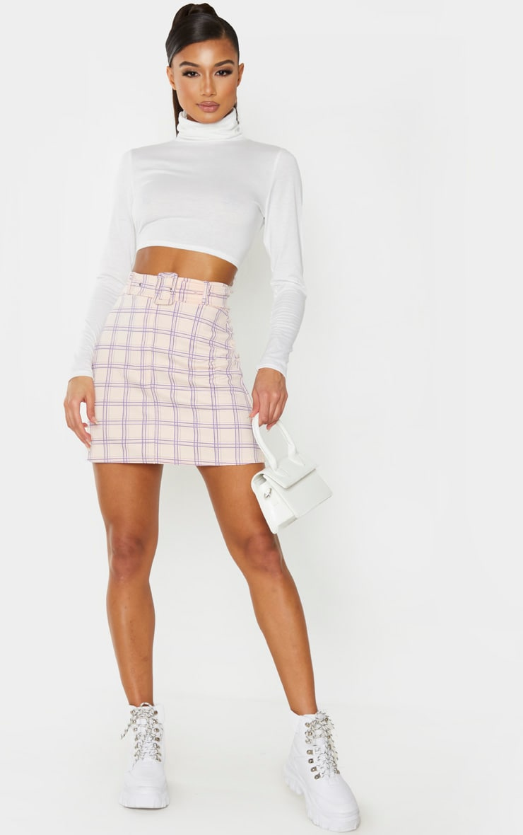 Pink Check Print Belted Mini Skirt 4
