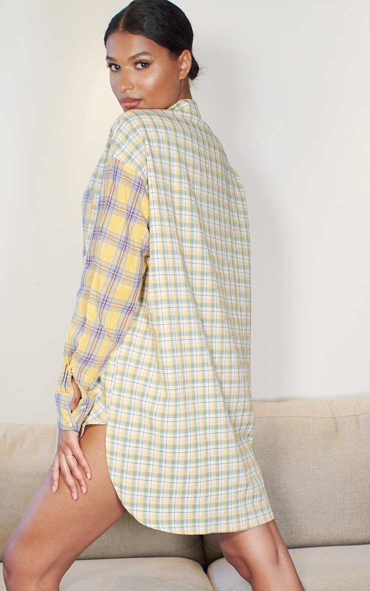 Yellow Contrast Check Shirt Dress 2