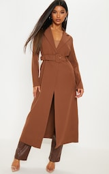 Tobacco Woven Collar Detail Buckle Front Coat 1