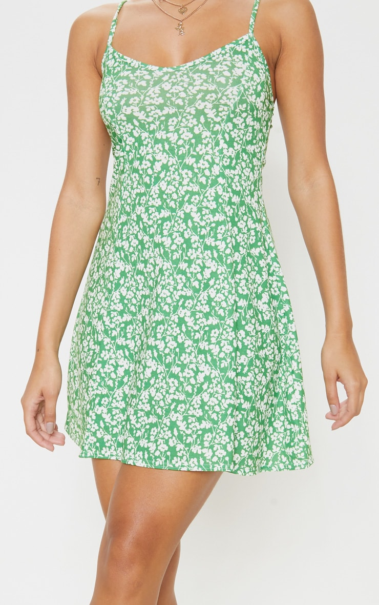 Green Ditsy Floral Strappy Shift Dress 5
