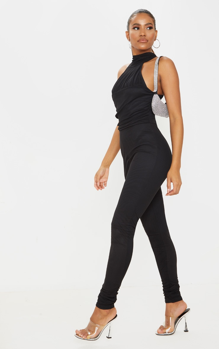 Black Ruched Mesh High Neck Jumpsuit 1