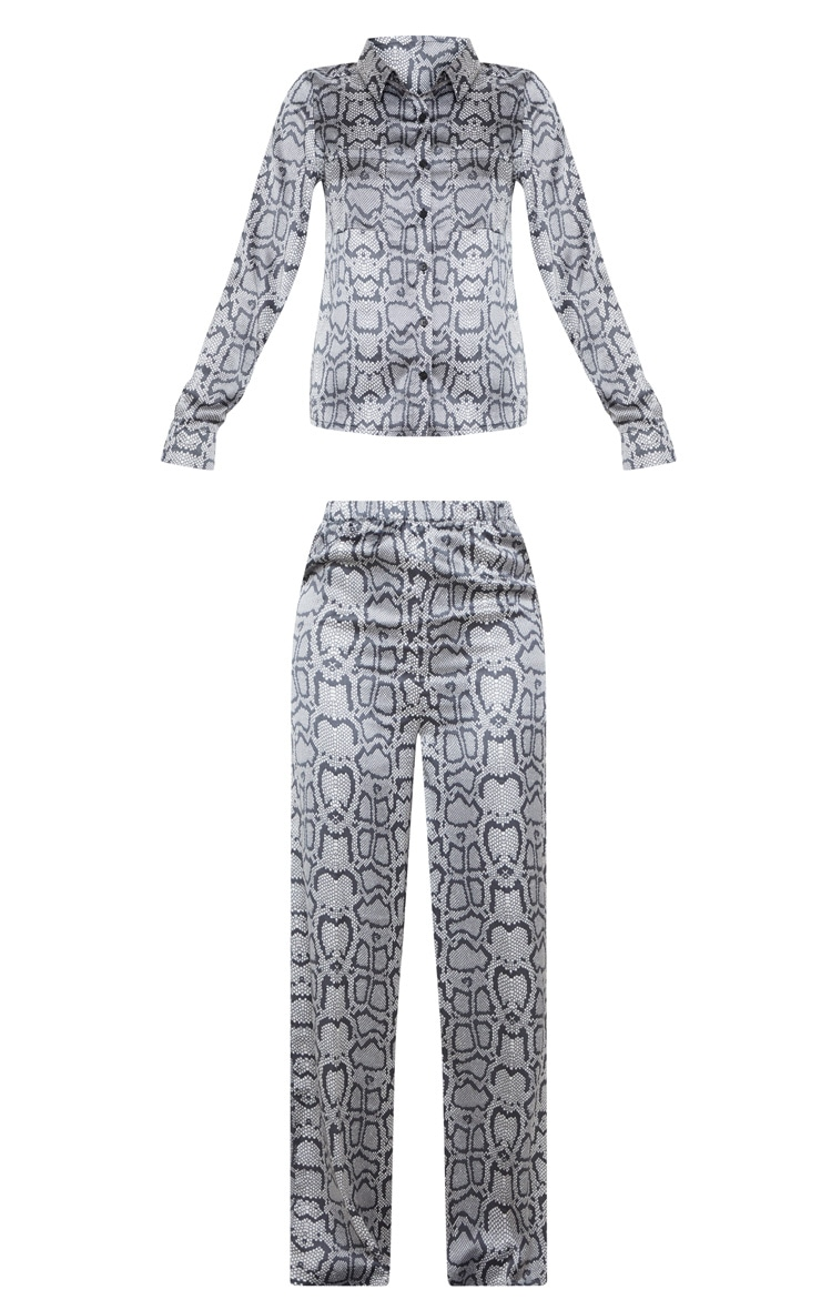 Monochrome Snake Print Long Sleeve Satin Pyjama Set 3