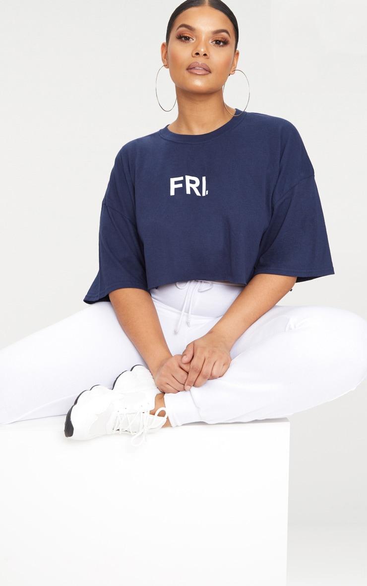 Plus Navy FRI Slogan Cropped T Shirt 1