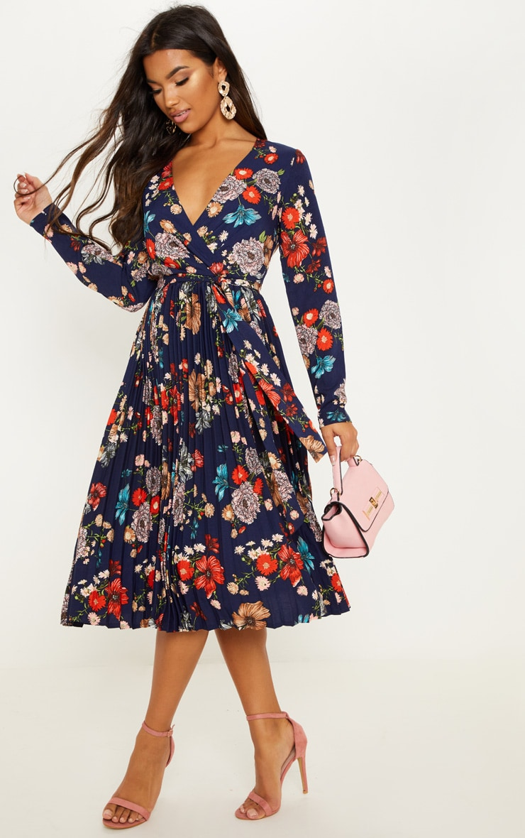 NAVY FLORAL LONG SLEEVE PLEATED MIDI DRESS
