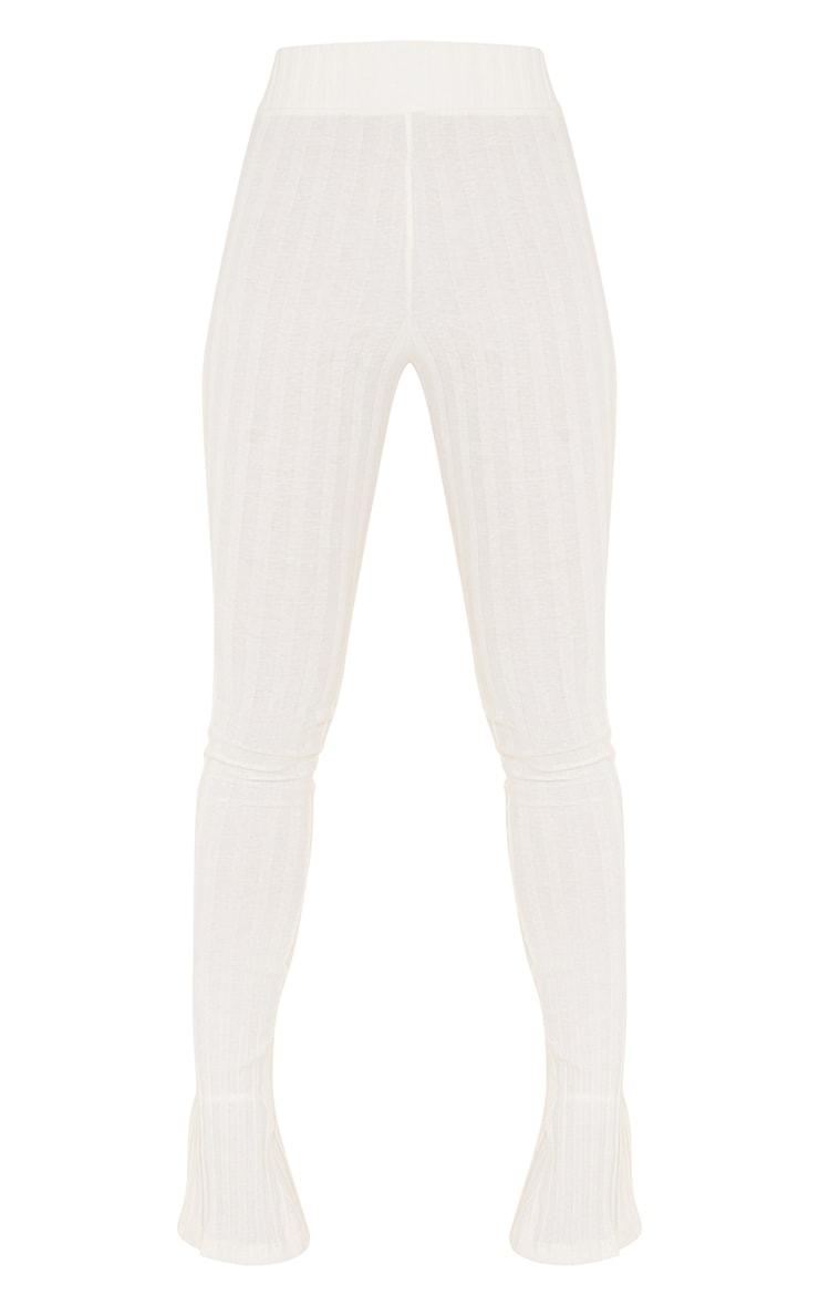 Cream Jumbo Cotton Rib Split Hem Leggings 5