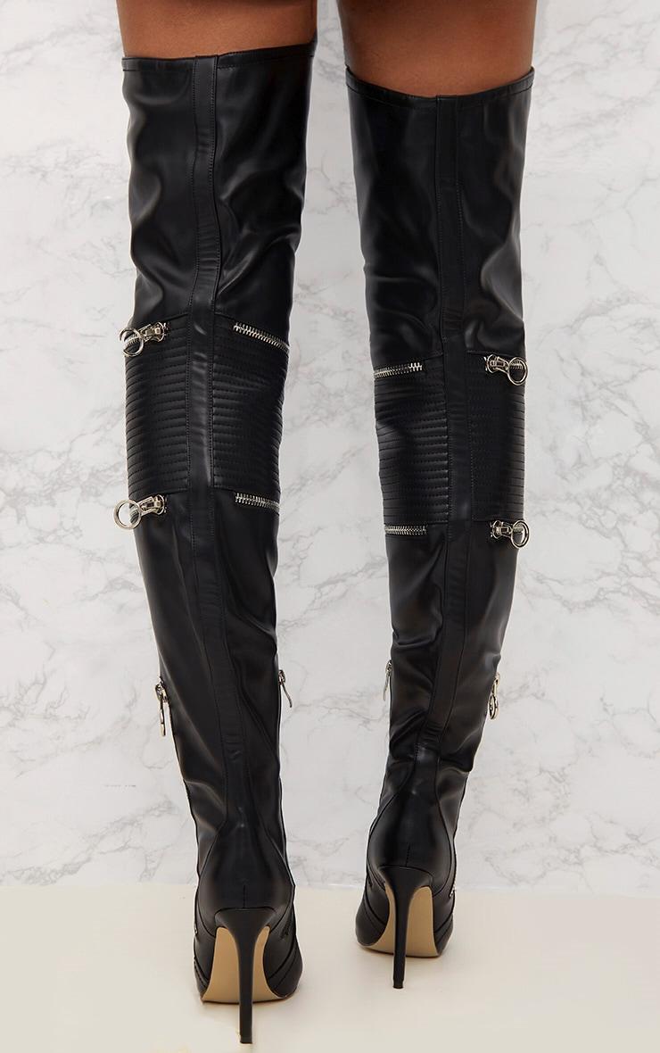 Black Thigh High Heeled Biker Boots  4