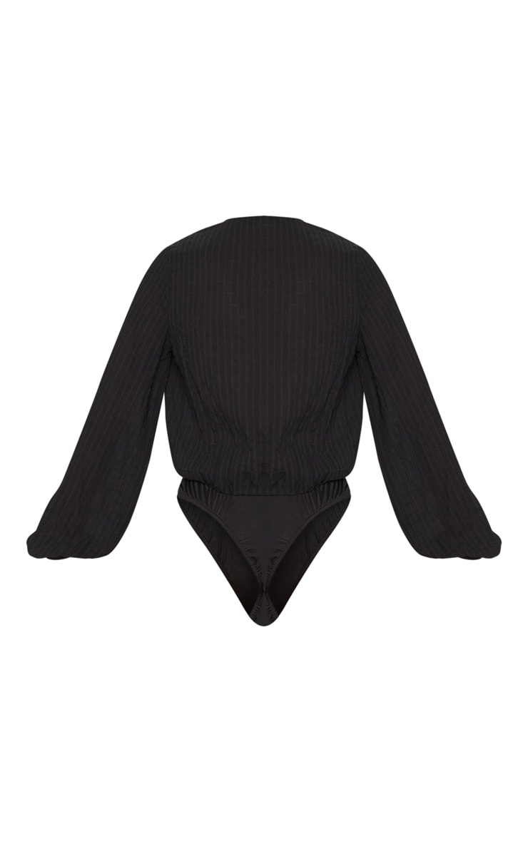 Black Woven Textured Plunge Long Sleeve Bodysuit 4