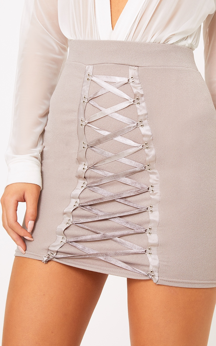 Catarina Grey Corset Panel Mini Skirt 4