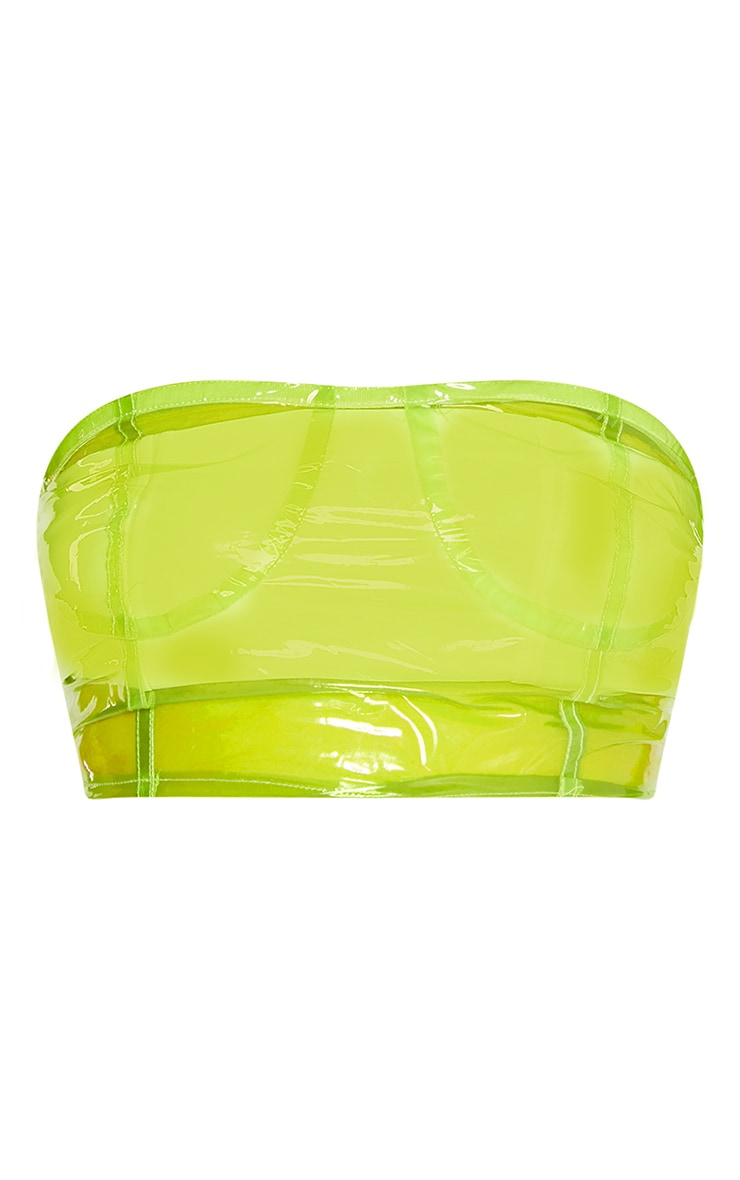 Lime Transparent Zip Up Bandeau Bralet 3