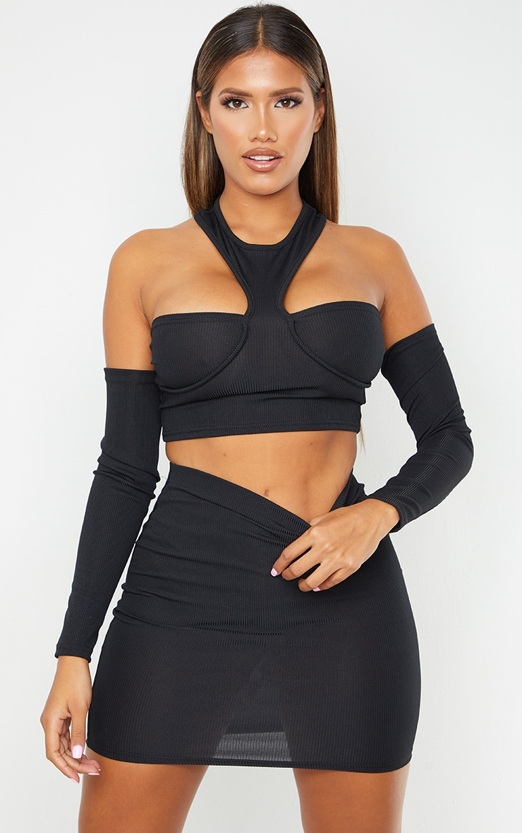 Shape Black Rib Detail Bodycon Skirt