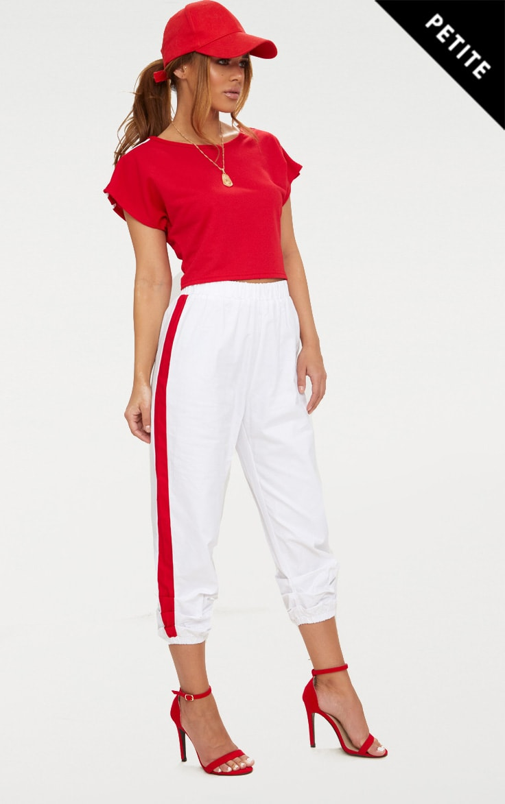 Petite White Cropped Contrast Stripe Cargo Trousers 1