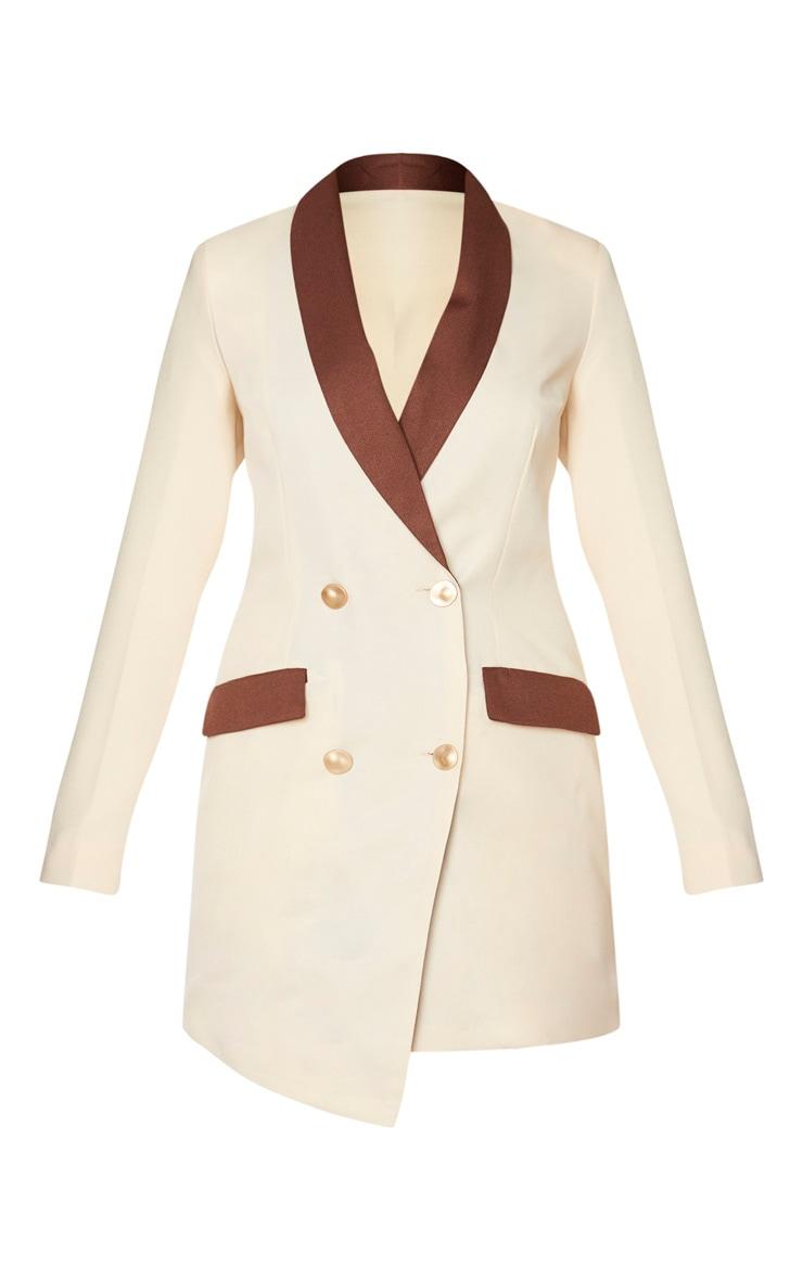 Robe blazer crème à boutons dorés et parties contrastées 5