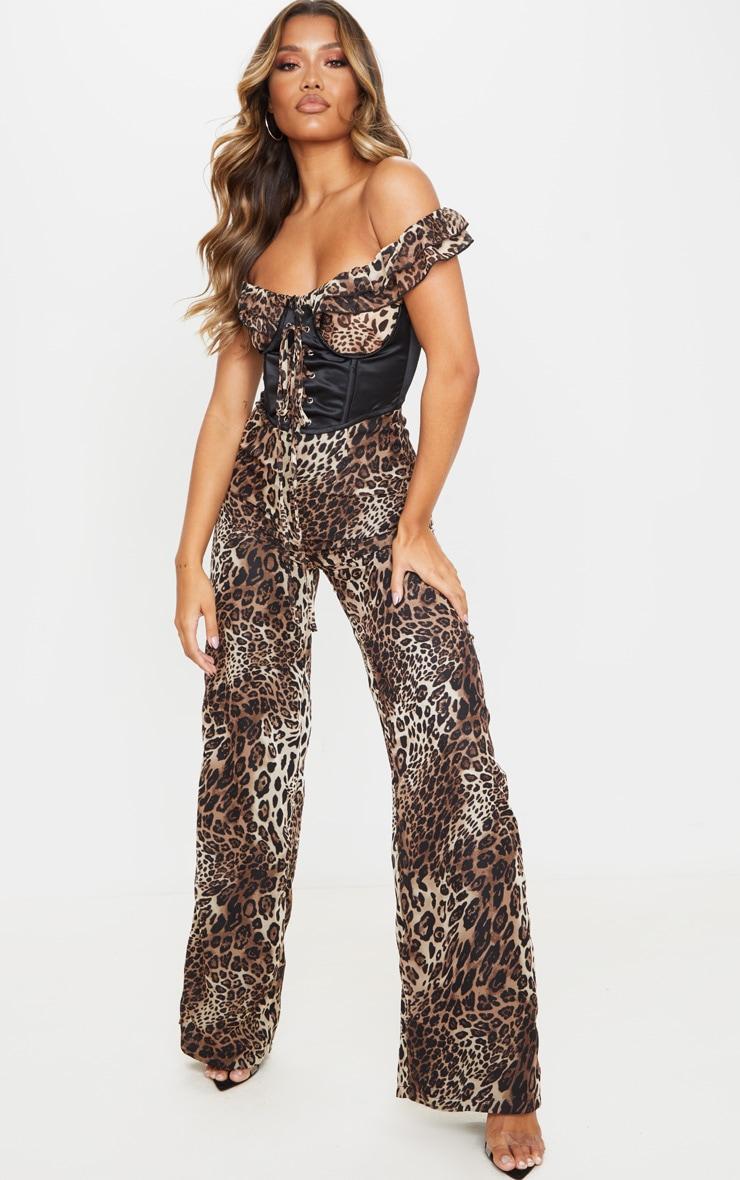 Tan Leopard Print Corset Frill Bardot Jumpsuit 1