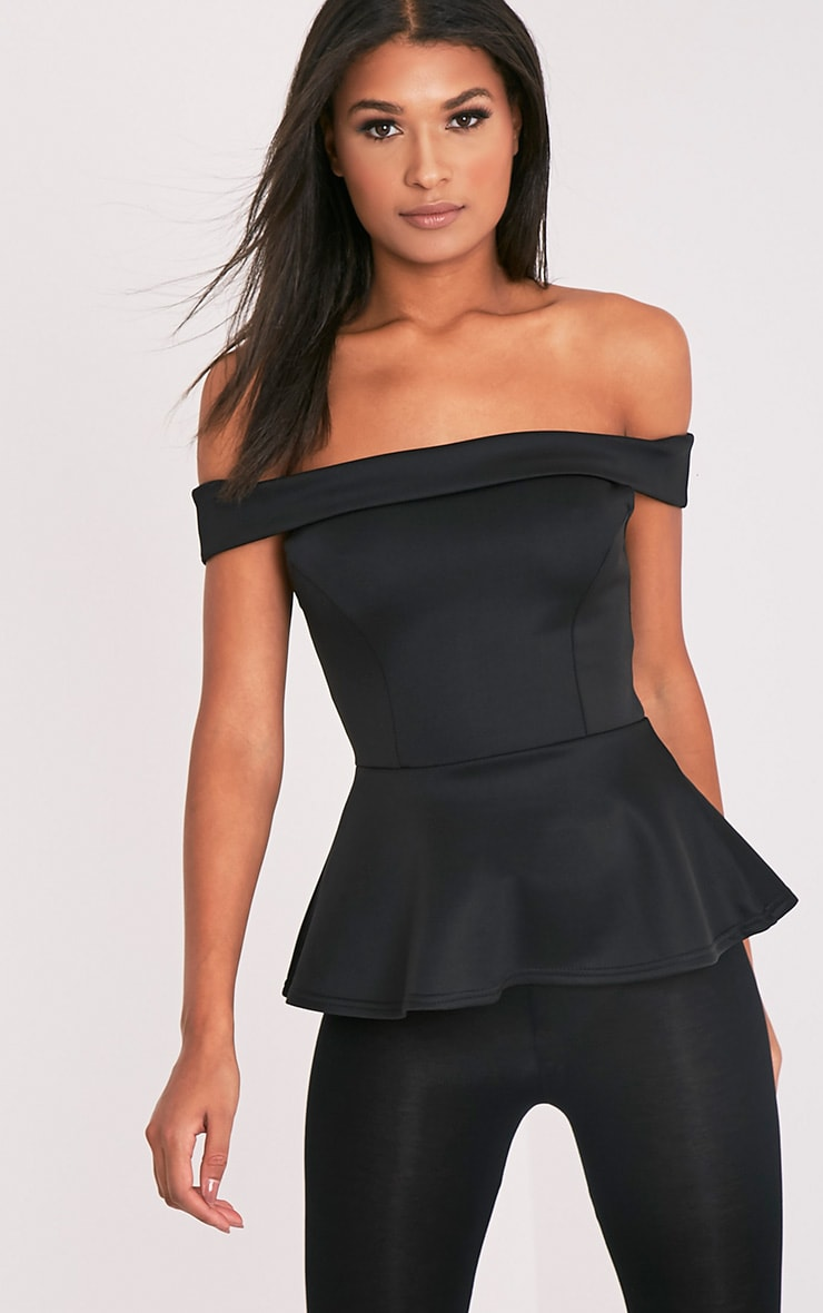 Keona Black Bardot Peplum Top 1