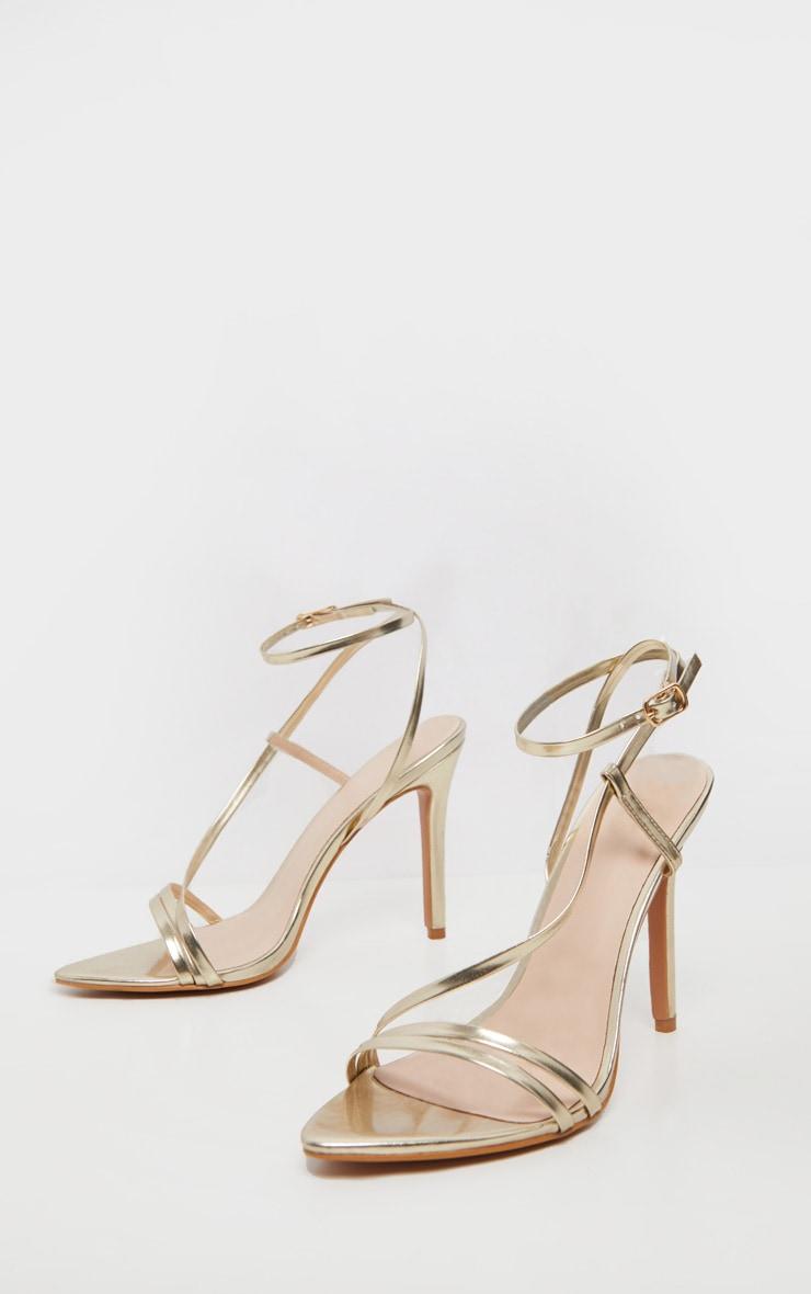 Gold Asymmetric Strappy Sandal 3