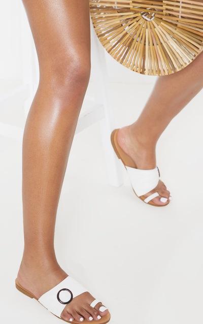 ec570c86c71 White Tortoise Toe Loop Flat Sandal