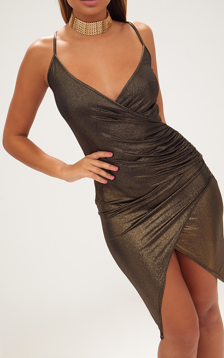 Gold Drape Front Ruched Wrap Over Midi Dress  4