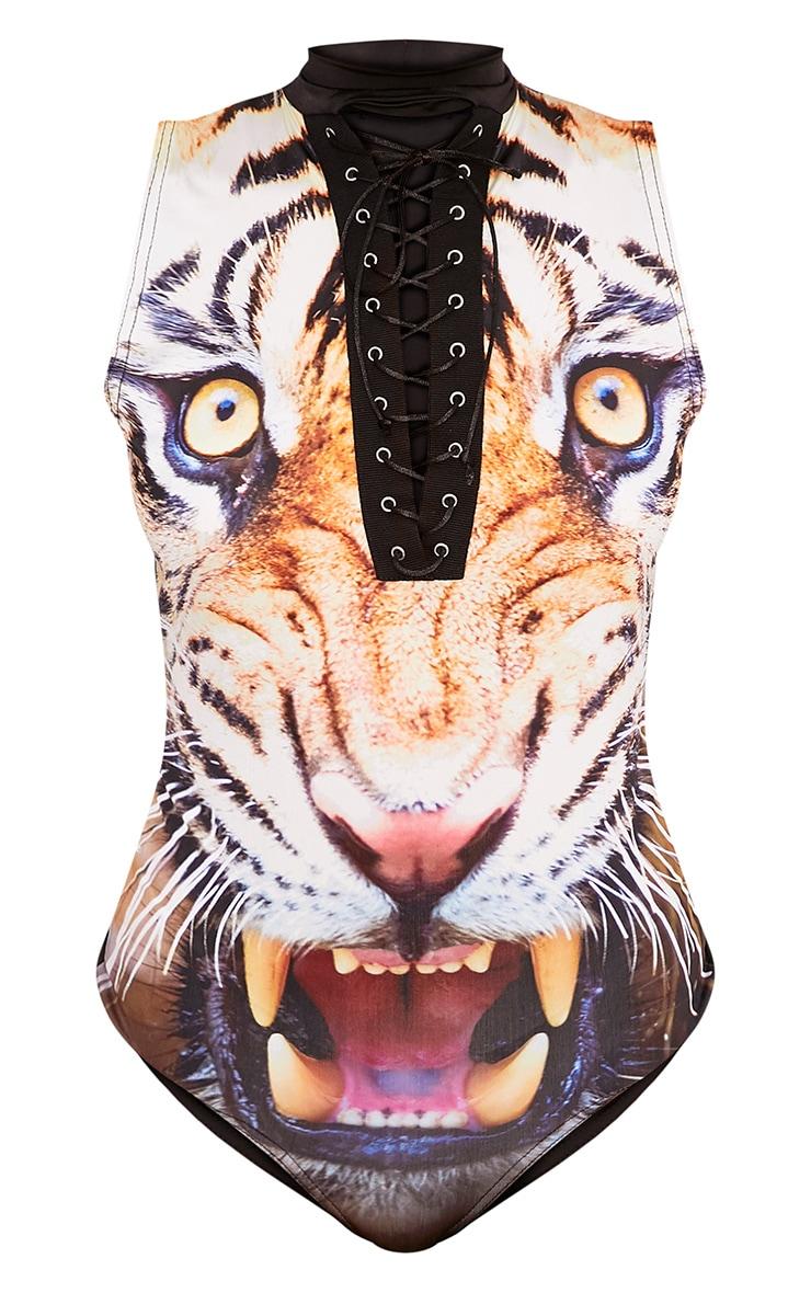 Tiger Print Black Lace Up Sleeveless Thong Bodysuit 3