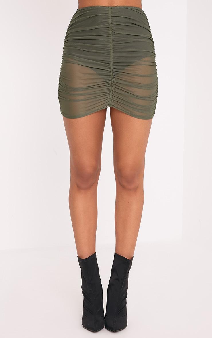 Chelle Khaki Ruched Sheer Mini Skirt 2