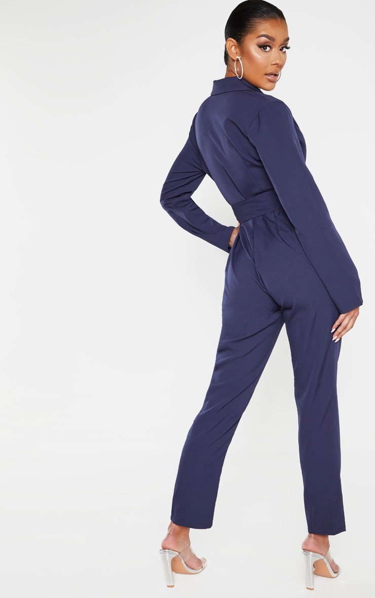 Midnight Blue Lapel Detail Belted Jumpsuit 2