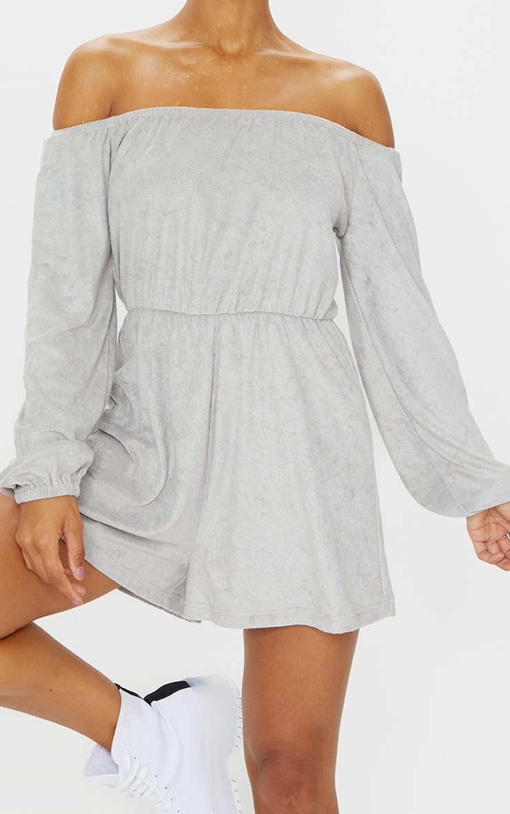 Grey Towelling Bardot Playsuit 4