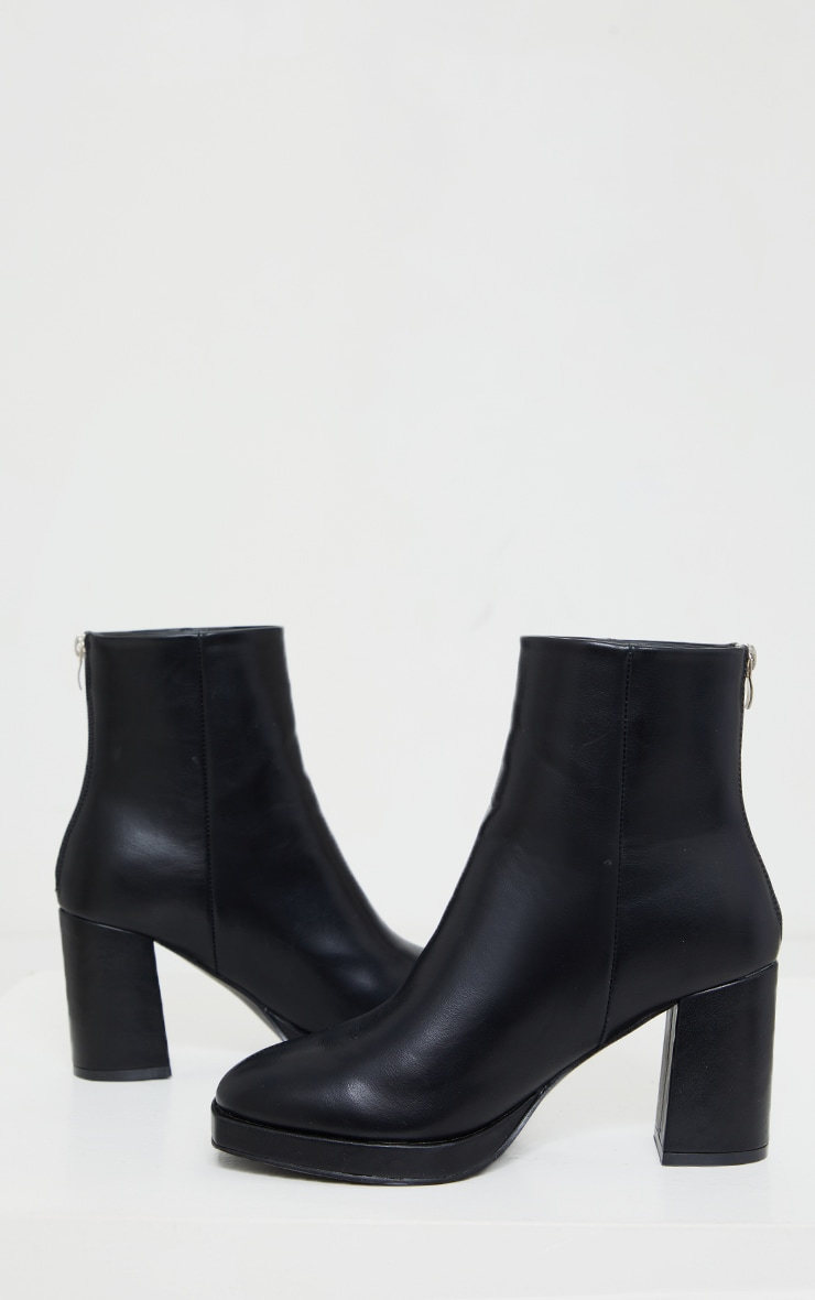 Black Slight Platform Basic Heeled Ankle Boots 4