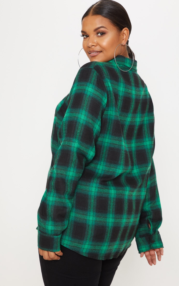 Plus Green Tartan Oversized Shirt 2