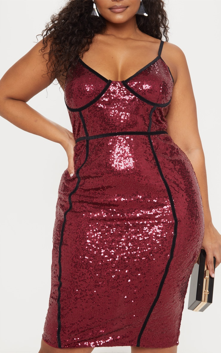 Plus Burgundy Sequin Binding Midi Dress 5