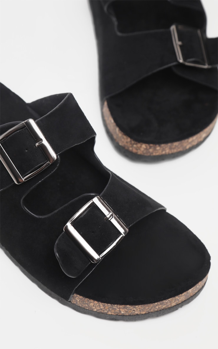 Black Double Buckle Mule Sandal 4