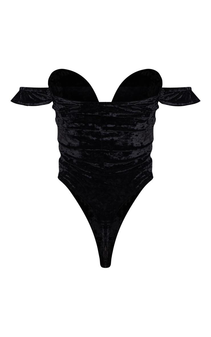 Black Crushed Velvet V Wire Bardot Bodysuit 4