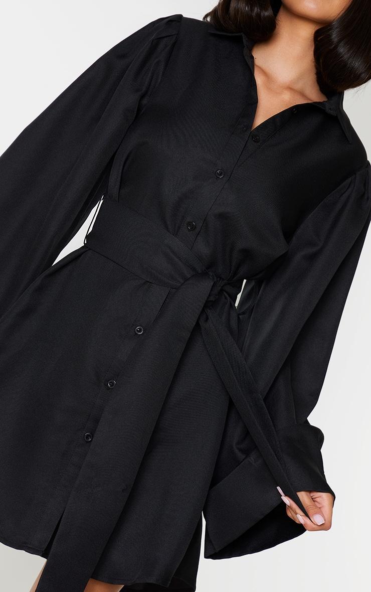 Black Flare Puff Sleeve Tie Waist Shirt Dress 4