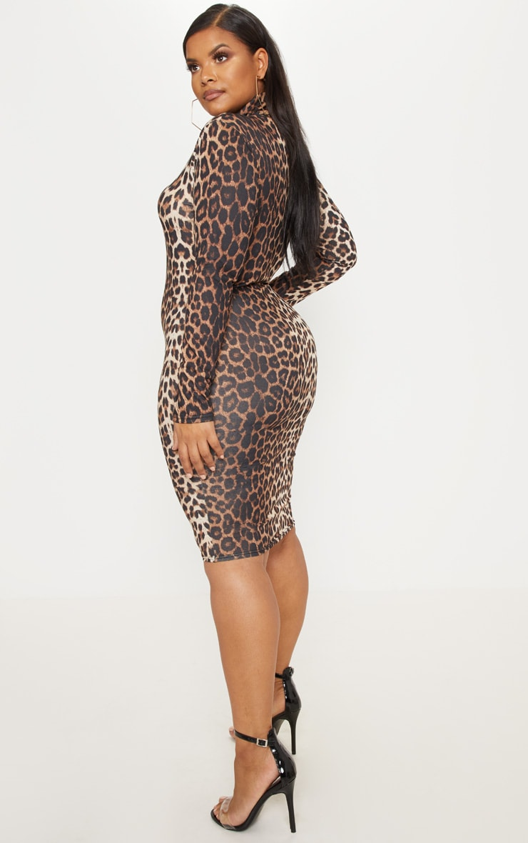 Plus Tan Leopard Print High Neck Midi Dress 2