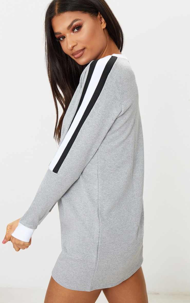 Grey Sport Stripe Long Sleeve Jumper Dress  2
