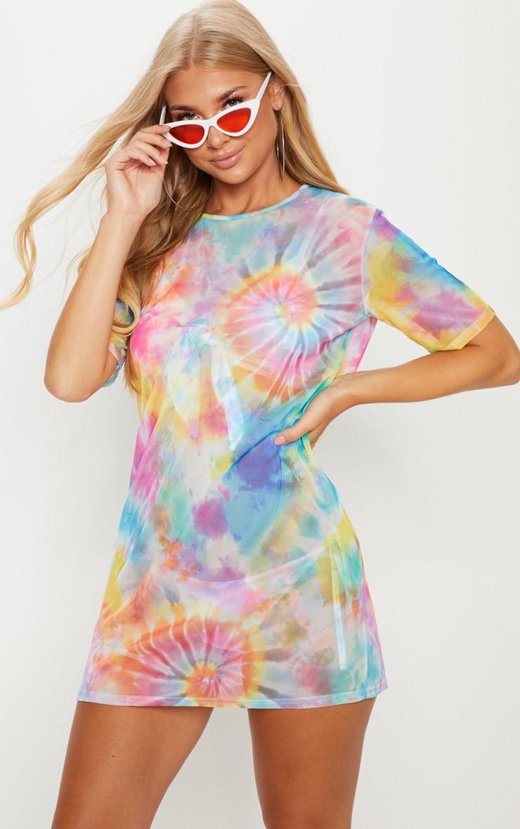 3b6e061a951 Multi Tie Dye Mesh T-Shirt Beach Dress image 1