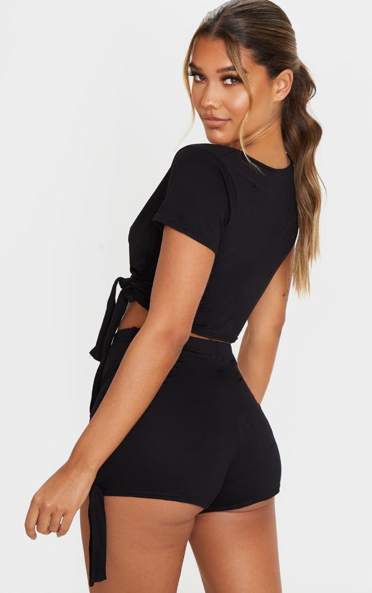 Black Basic Wrap Tie Front PJ Short Set 2