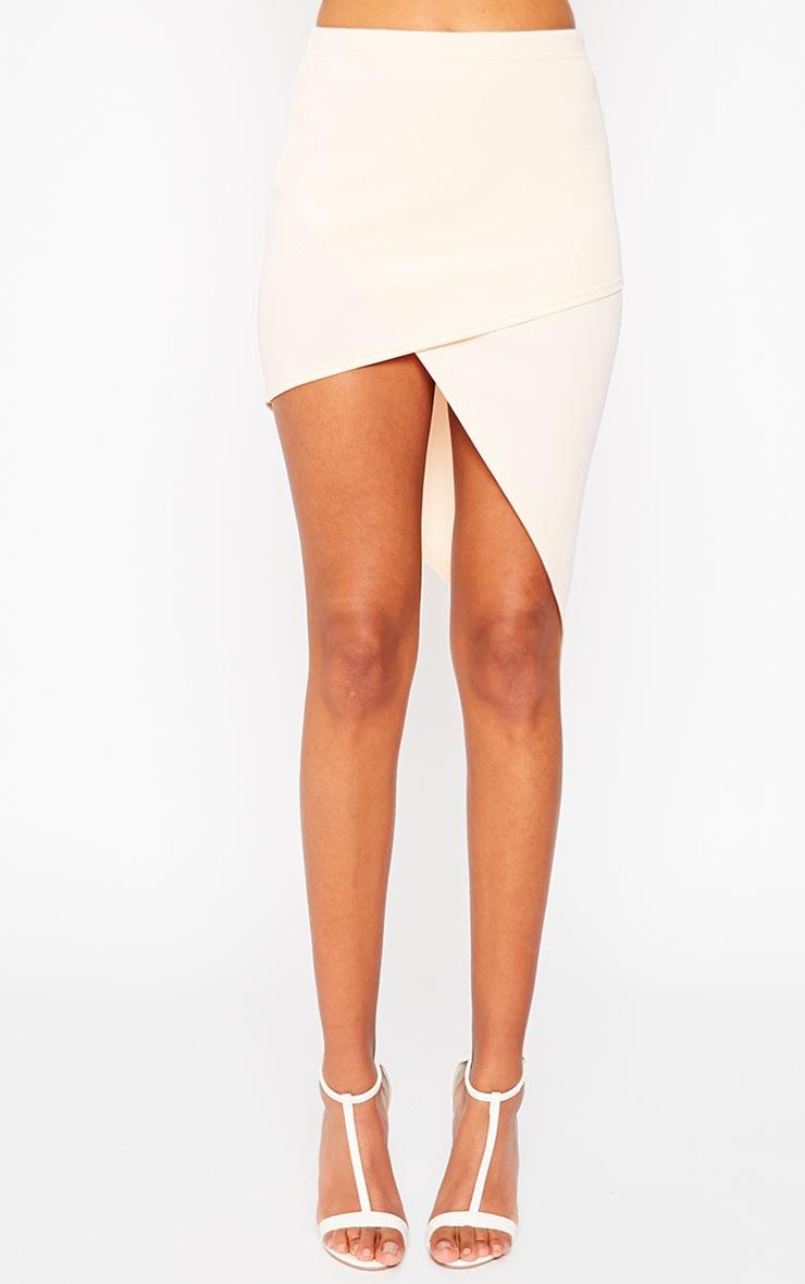 Tiff Nude Wrap Hem Scuba Skirt 2