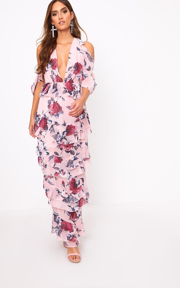 fa157bfcd2 Pink Floral Cold Shoulder Maxi Dress | PrettyLittleThing AUS